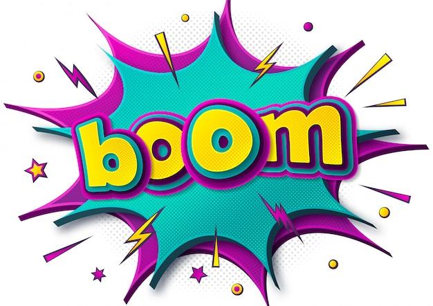 Boom comics poster met kleurrijke tekstballonnen in pop-art stijl.