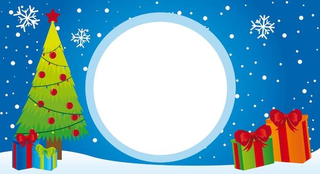 Boom en geschenken kerstmis met ruimte reclame kaart vector