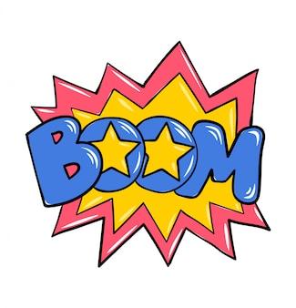 Boom! explosie strips stijl superheld