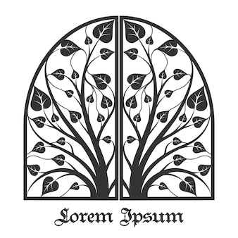 Boom frame. boomplant, boom met blad, botanische boom bos illustratie