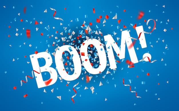 Boom! kleur folie confetti en linten op rode achtergrond