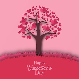 Boom liefde hart silhouet papier knippen stijl voor valentijnsdag wenskaartsjabloon