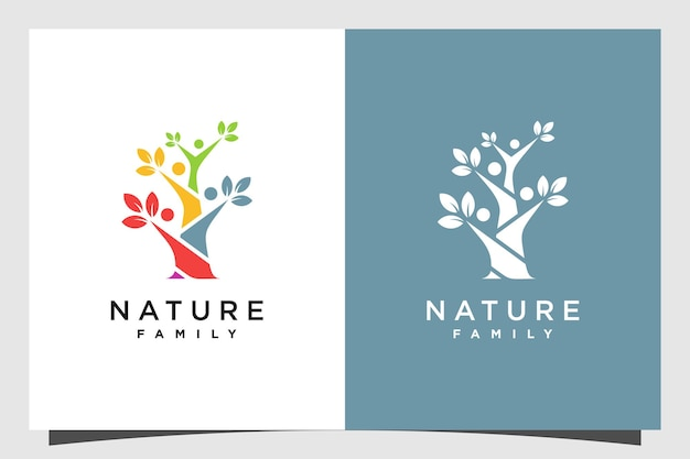Boom logo-ontwerp met familie menselijk concept premium vector deel 2