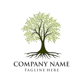 Boom logo ontwerp wortel vector levensboom logo ontwerp inspiratie