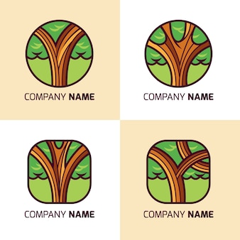 Boom logo's collectie in vlakke stijl