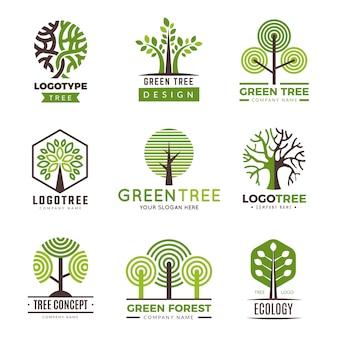 Boom logo's. eco groene symbolen hout gestileerde bomen planten vector logo