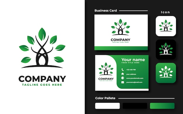 Boom logo sjabloon en visitekaartje