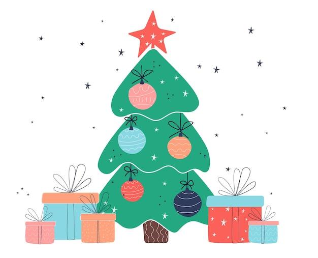 Boom met geschenken. nieuwjaar en kerstmis. afbeeldingen in vlakke stijl