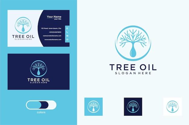 Boom met waterdruppels logo ontwerp en visitekaartje