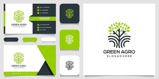 Boom pictogram. elementen. groene tuin logo sjabloon en visitekaartje