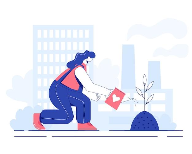 Boom planten concept. de vrouw geeft het zaaien water. illustratie.