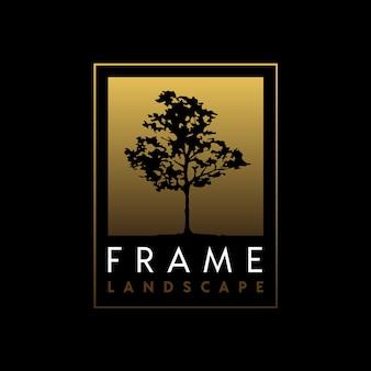 Boom silhouet met elegante gouden frame logo-ontwerp