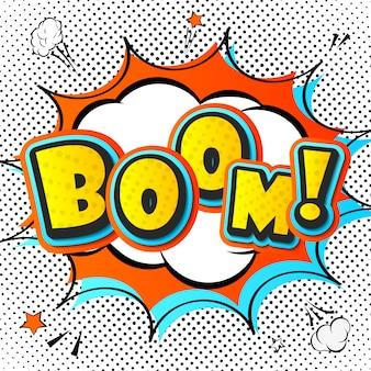 Boom. strips boekenpagina met tekstballon, explosie en achtergrond van stippen in pop-artstijl