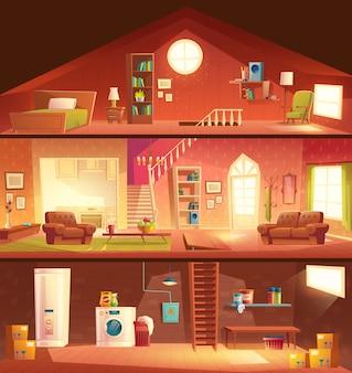 Boom-verdieping huis of cottage doorsnede bouw cartoon vector interieurs set met wasgoed in de kelder, comfortabele, zonnige woonkamer of hal, studio keuken, gezellige slaapkamer op zolder illustratie