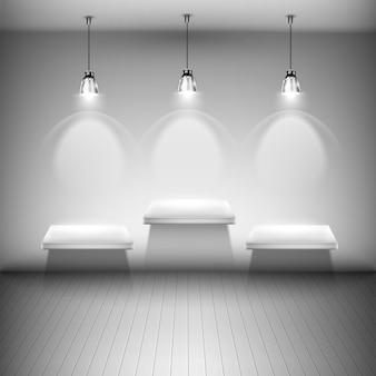 Boom verlichte planken in de kamer