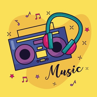 Boombox en hoofdtelefoons muziek kleurrijke illustratie