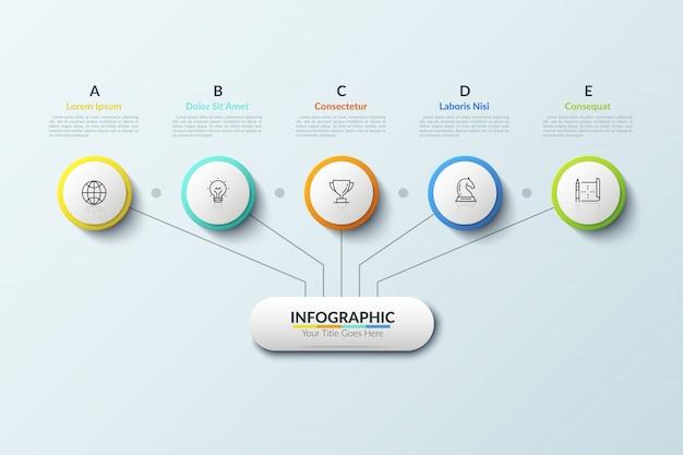 Boomdiagram. hoofdelement verbonden met vijf dunne lijnpictogrammen geplaatst in witte papiercirkels en tekstkaders met letters. hiërarchievertegenwoordiging.