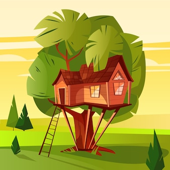 Boomhutillustratie van houten hut met ladder en vensters in bos.