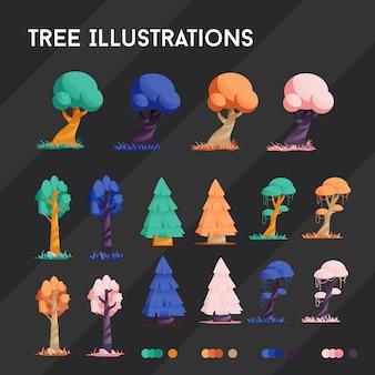 Boomillustraties 4 kleuren