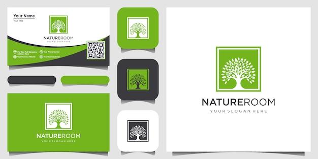 Boomlogo met vierkante conceptontwerpelementen. groene tuin logo sjabloon en visitekaartje ontwerp