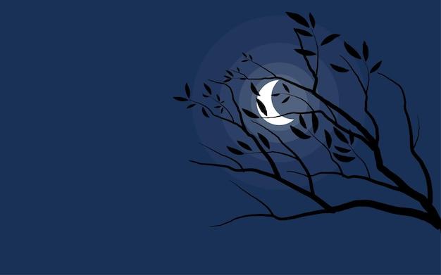 Boomsilhouet op maanlichtachtergrond