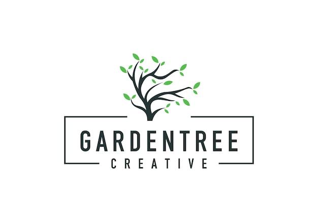 Boomtak logo en bladeren, natuurlijk van een boom