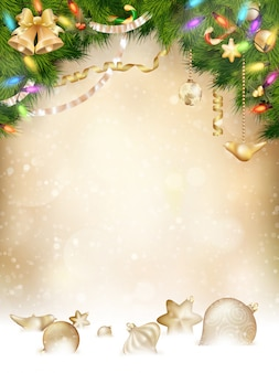 Boomtakken met gouden kerstballen, verticale banner.