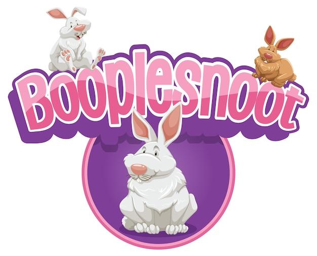 Booplesnoot-lettertypeontwerp met een schattig stripfiguur van een konijn