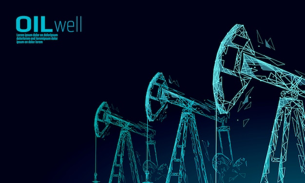 Booreiland juck laag poly bedrijfsconcept. financiën economie veelhoekige benzine-productie. petroleum brandstof industrie pumpjack boortorens pompen boorpunt lijnverbinding stippen blauwe vectorillustratie