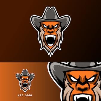 Boos aap gorilla sport esport logo sjabloonontwerp met baard en hoed