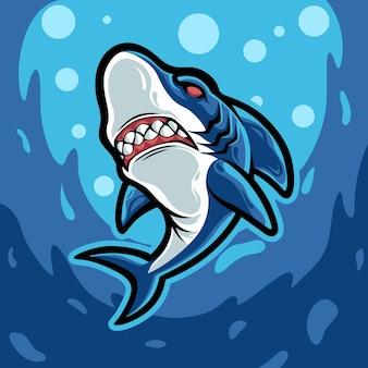 Boos blauwe haai karakter mascotte illustratie