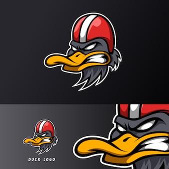 Boos eend ruiter mascotte sport esport logo sjabloon