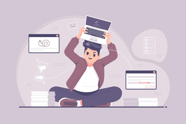 Boos gefrustreerde zakenman die laptop illustratie werpt