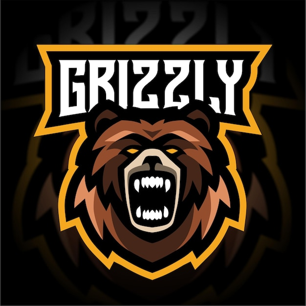 Boos grizzly mascotte gaming-logo