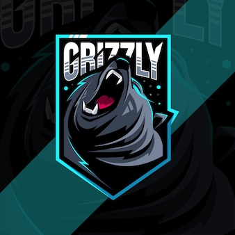 Boos grizzly mascotte logo esports ontwerpsjabloon
