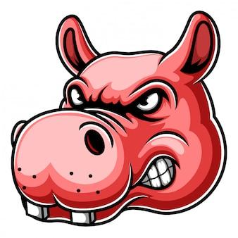 Boos hippo hoofd mascotte logo afbeelding