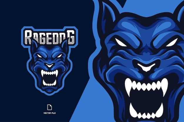 Boos hond mascotte esport-logo voor spelsportteam