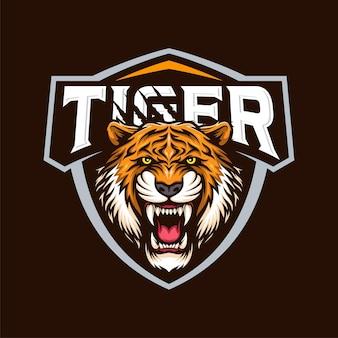 Boos hoofd tijger mascotte illustratie