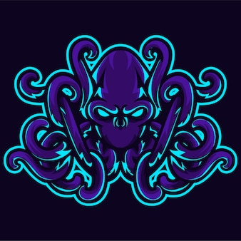 Boos kraken octopus hoofd tentakel logo sjabloon