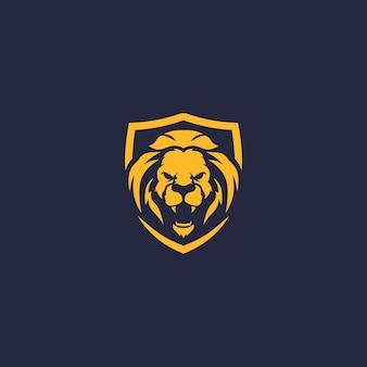 Boos leeuw schild logo vector icoon sjabloon illustratie