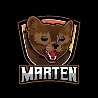 Boos marter mascotte logo ontwerp