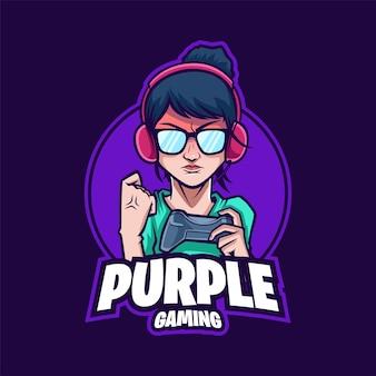 Boos meisje gaming mascotte logo