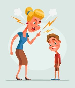 Boos ongelukkig moederkarakter schold haar zoon, platte cartoon afbeelding uit