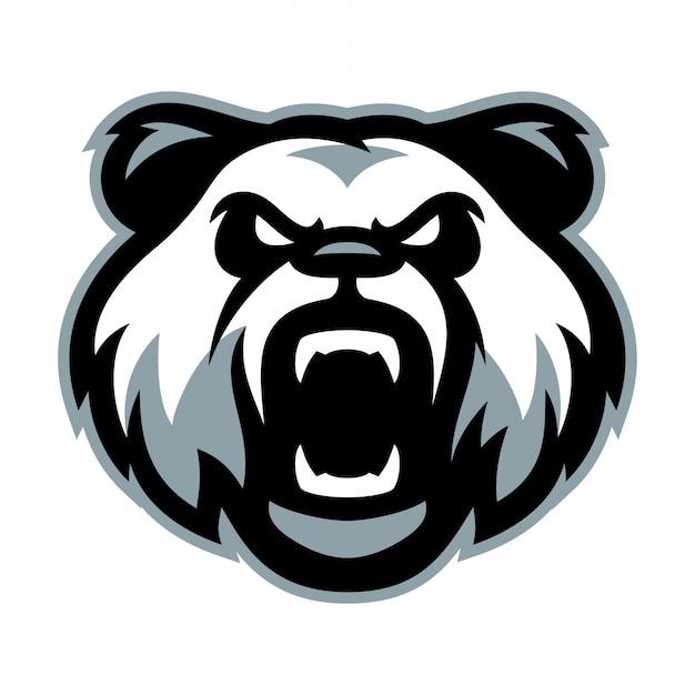 Boos panda hoofd logo mascotte sjabloon vectorillustratie