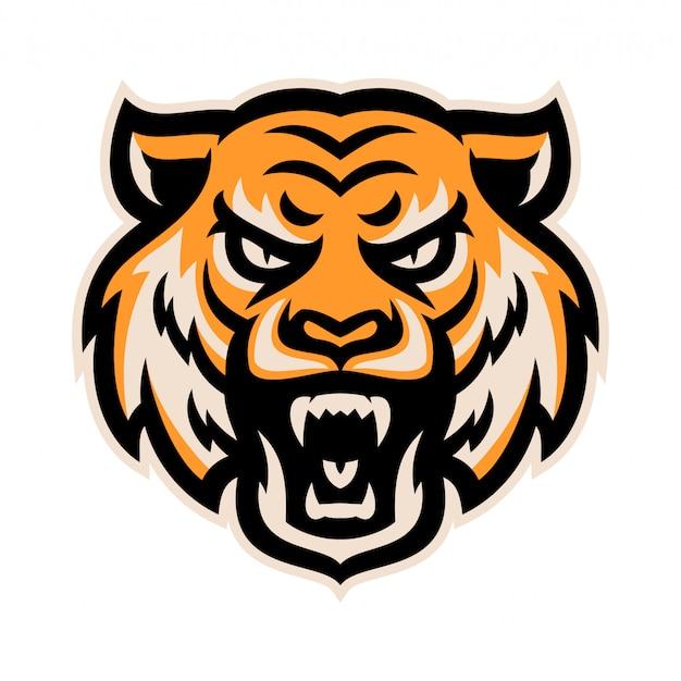 Boos tijger hoofd logo mascotte sjabloon vectorillustratie