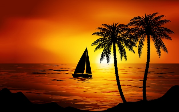 Boot die in zonsondergang vaart