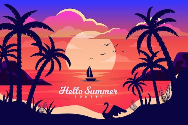 Boot in de zonsondergang met palmenachtergrond