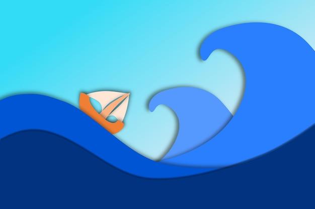 Boot in het midden van de stormachtige zeegolven met premium vector in papercut-stijl