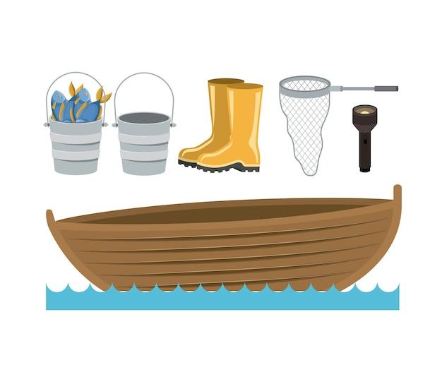 Boot in watergolven en verzamel elementen om te vissen