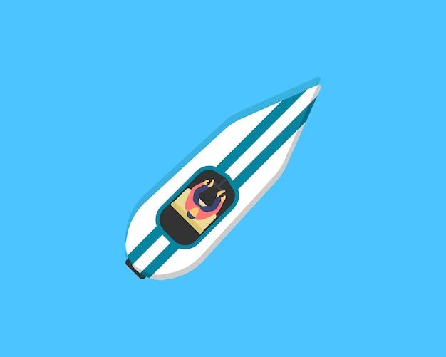 Boot, kajak met mensen binnen. bovenaanzicht vissersboten op het water. rivier of zee, meer of vijver met een motor of houten zeilboot.